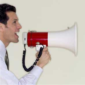man making announcement using megaphone