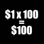 one dollar times 100 equals $100